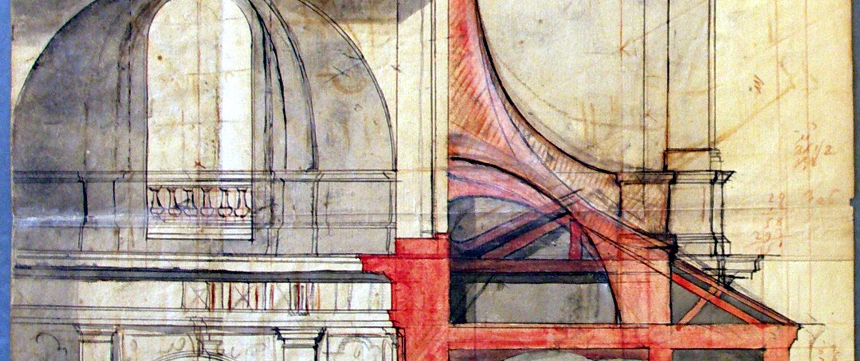 Eglise, Paris, dessin d'architecture, Stockholm, Nationalmuseum