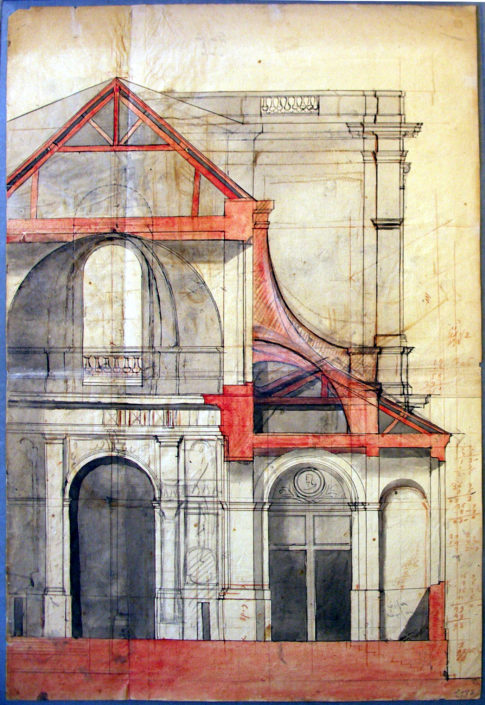 Eglise, Paris, dessin d'architecture, Stockholm, Nationalmuseum